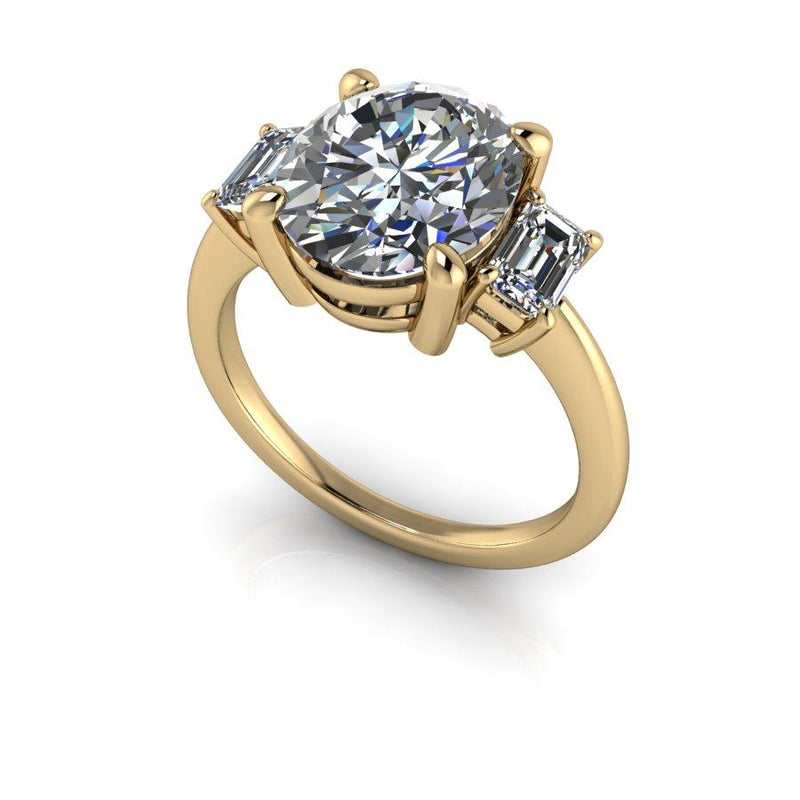 4.74 CTW Forever One Moissanite Three Stone Anniversary Ring-Bel Viaggio Designs
