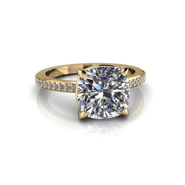 4.76 ctw Cushion Forever One Moissanite Engagement Ring/Bridal Set-Bel Viaggio Designs