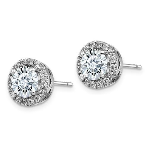 4.76 CTW Round Halo Moissanite Earrings, DEF Color-Bel Viaggio Designs