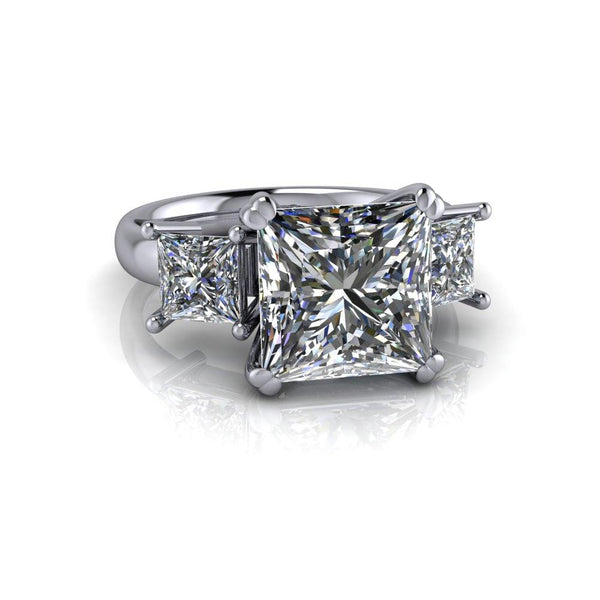 4.80 ctw Princess Cut Colorless Moissanite Three Stone Ring-Bel Viaggio Designs