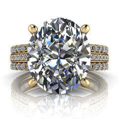 4.83 CTW Exotic Cut Oval Forever One Moissanite Engagement Ring-Forever One-Bel Viaggio Designs-Bel Viaggio®