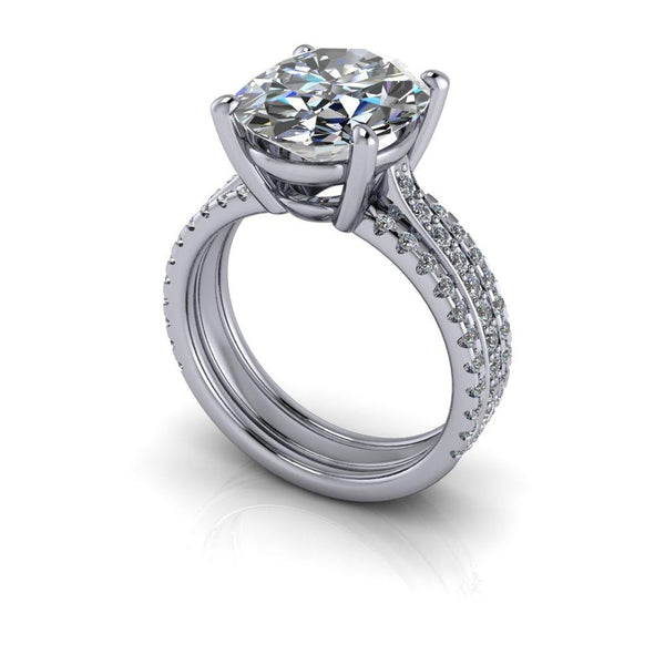 4.83 CTW Exotic Cut Oval Forever One Moissanite Engagement Ring-Bel Viaggio Designs
