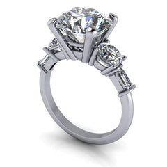 4.84 CTW 5-Stone Round and Emerald Cut Engagement Ring - Colorless Moissanite Ring-BVD
