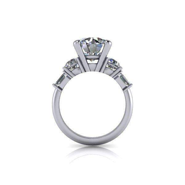 4.84 CTW 5-Stone Round and Emerald Cut Engagement Ring - Colorless Moissanite Ring-Bel Viaggio Designs