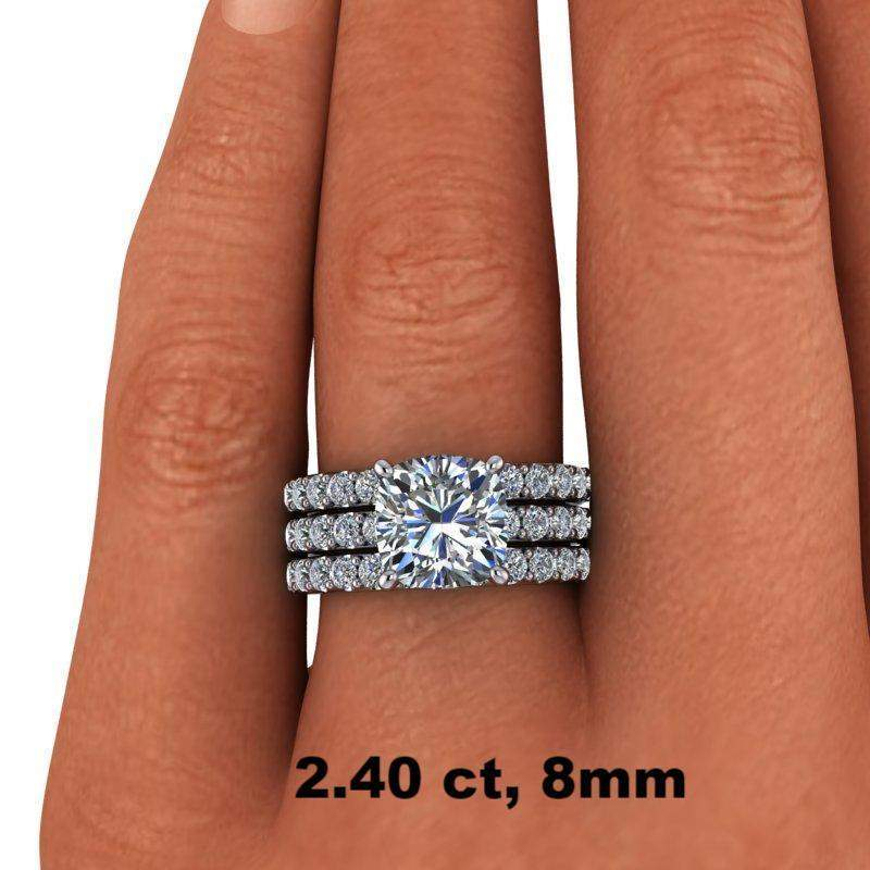 4.88 CTW Cushion Cut Bridal Set Colorless Moissanite Engagement Ring - Center Stone Option-Celestial Premier-Bel Viaggio Designs-Bel Viaggio®