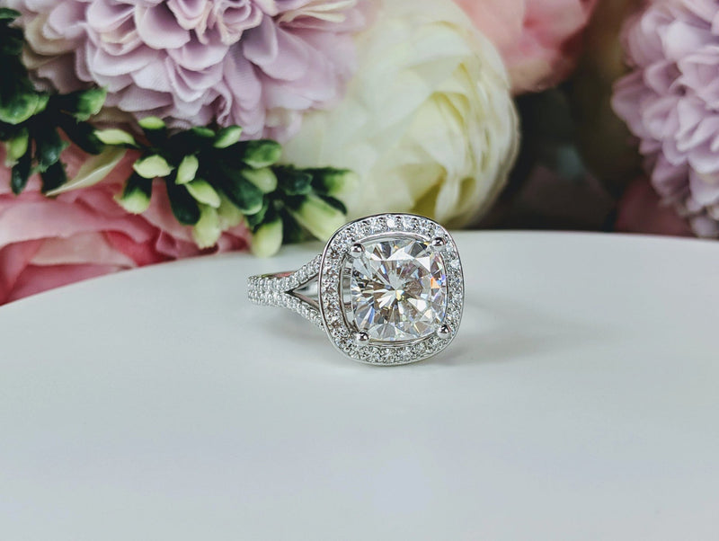 4.90 ctw Cushion Cut Moissanite and Diamond Engagement, Split Shank Ring-Bel Viaggio Designs