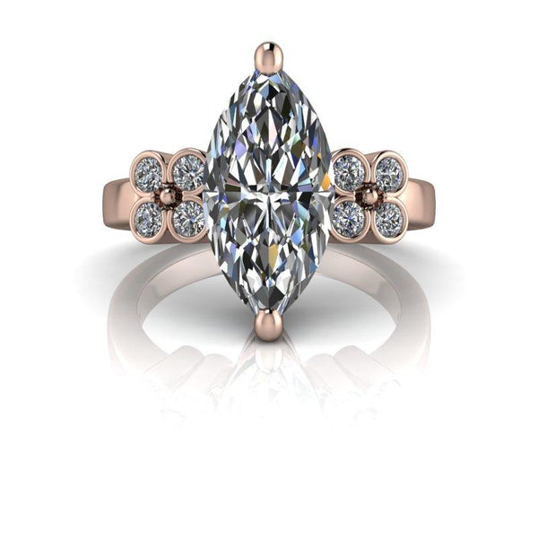 4.90 CTW Marquise Cut Moissanite and Lab Grown Diamond Bridal Set-Bel Viaggio Designs