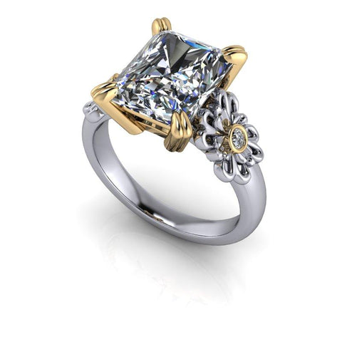 4.96 CTW Radiant Cut Forever One Moissanite Engagement Ring-Bel Viaggio Designs