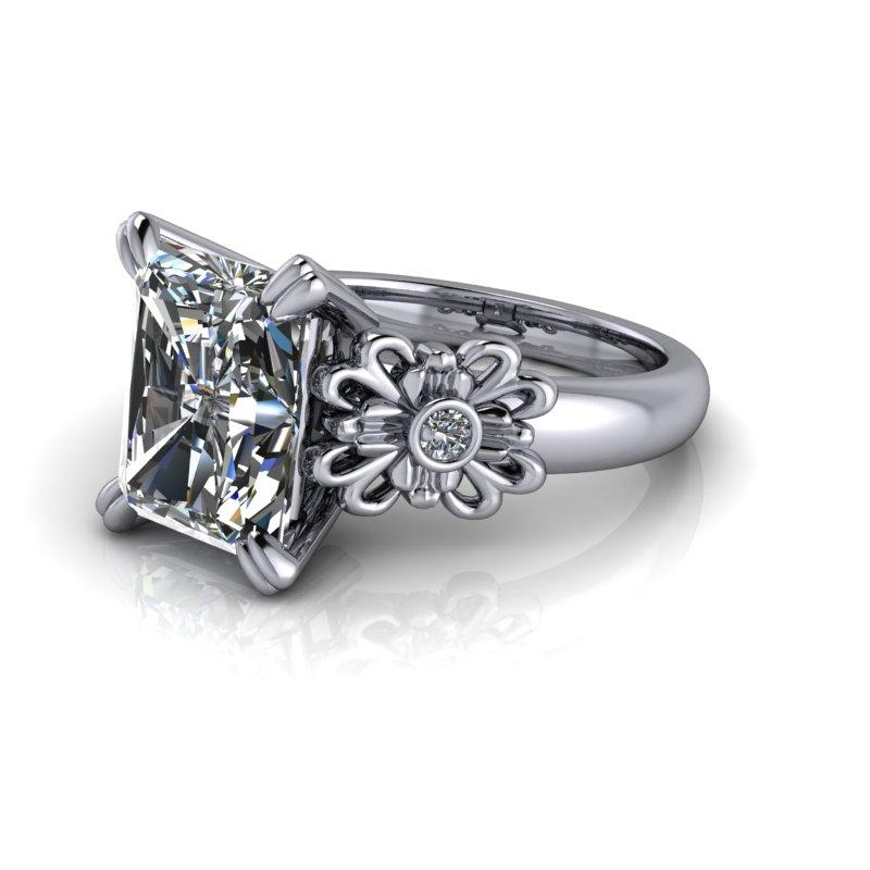 3.96 CTW Radiant Cut Colorless Moissanite Engagement Ring-Bel Viaggio Designs