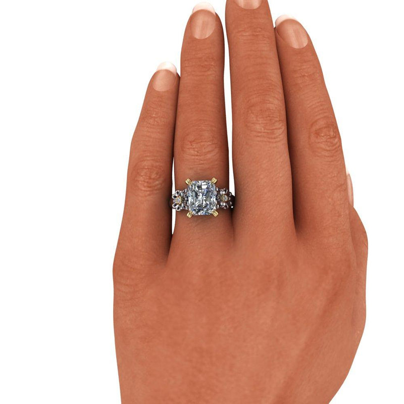 3.96 CTW Radiant Cut Forever One Moissanite Engagement Ring-Bel Viaggio Designs
