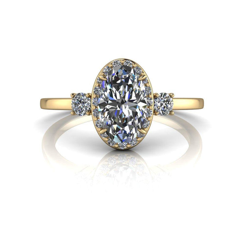 1.42 ctw Oval Forever One Moissanite & Diamond Three Stone Ring-Bel Viaggio Designs