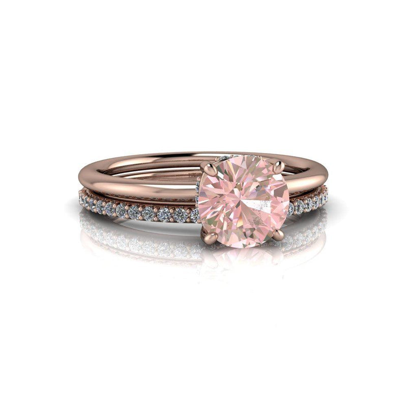 1.15 ctw Round Morganite & Diamond Engagement Ring/Bridal Set-Bel Viaggio Designs