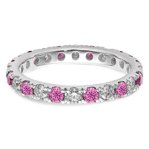 1.69 CTW Lab Grown Diamond Eternity Ring with Pink Sapphires-Bel Viaggio Designs