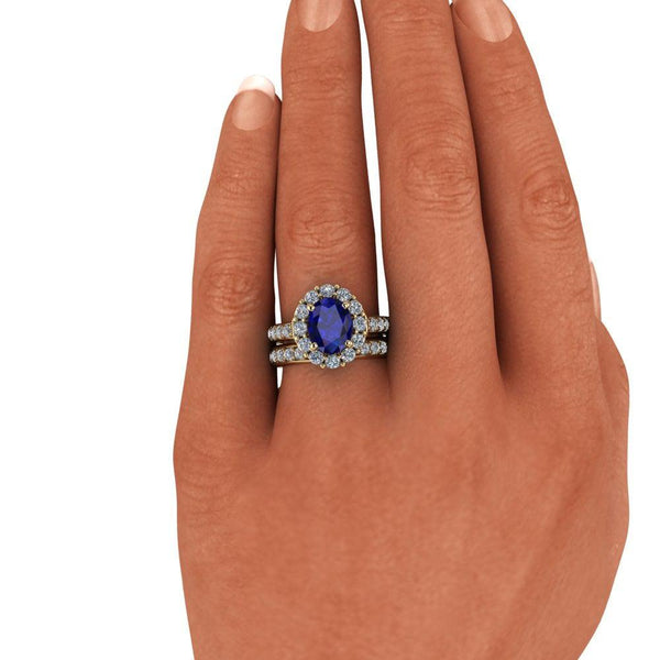 4.46 CTW Oval Sapphire Ring Diamond Bridal Set-Bel Viaggio Designs