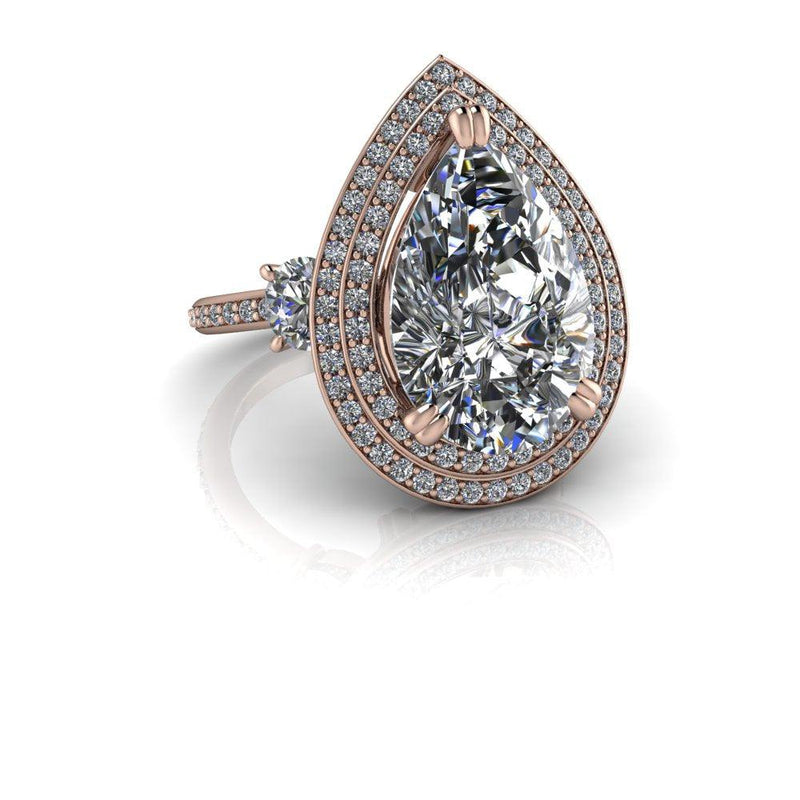 Pear Forever One Moissanite & Diamond Engagement Ring 8.09 ctw-Bel Viaggio Designs