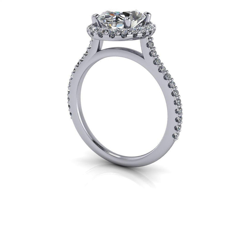 1.81 ctw Oval Moissanite & Lab Grown Diamond Cathedral Engagement Ring-Bel Viaggio Designs