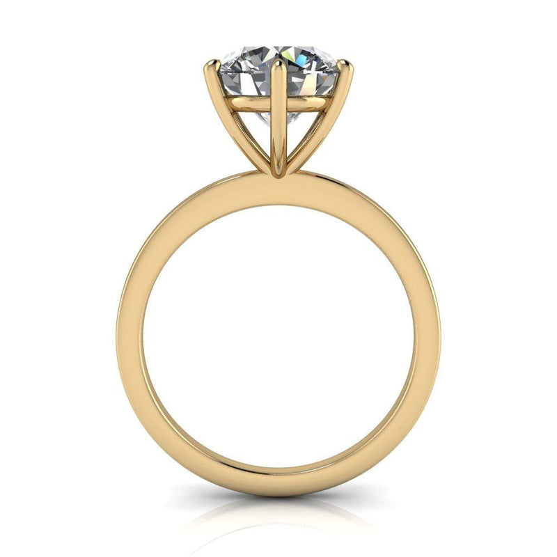 Round Moissanite Classic Solitaire Ring 6-Prong-Bel Viaggio Designs