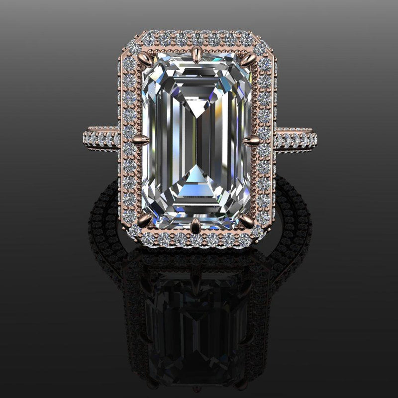 8.66 ctw Forever One Exotic Cut Emerald Engagement Ring-Bel Viaggio Designs