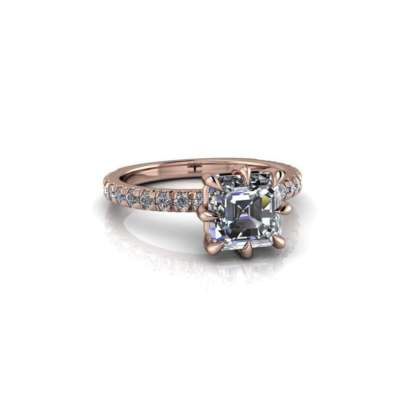 1.70 ctw Asscher Cut Forever One Moissanite & Diamond Engagement Ring 8-Prong-Bel Viaggio Designs