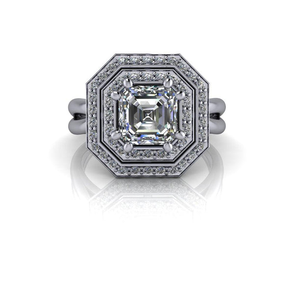 1.58 CTW Asscher Cut Forever One Moissanite Halo Engagement Ring-Bel Viaggio Designs