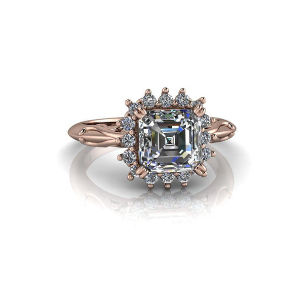 1.60 ctw Asscher Cut Forever One Moissanite & Diamond Engagement Ring-Bel Viaggio Designs