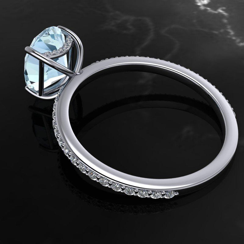2.32 CTW Aquamarine & Diamond Engagement Ring-Bel Viaggio Designs