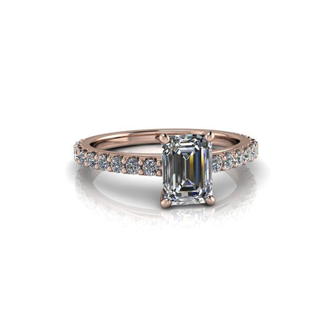 1.37 CTW Emerald Cut Colorless Moissanite & Diamond Cathedral Engagement Ring-Bel Viaggio Designs