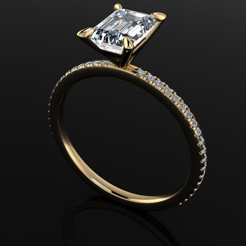 Emerald Cut Moissanite & Lab Grown Diamond Ring Bridal Set-Bel Viaggio Designs