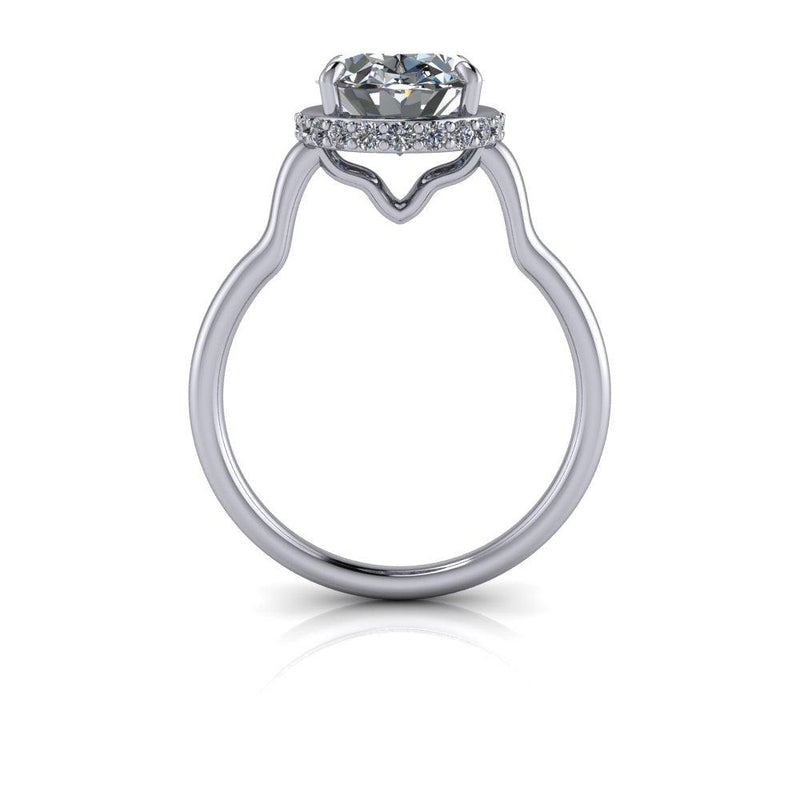3.20 ctw Oval Colorless Moissanite Engagement Ring-Bel Viaggio Designs