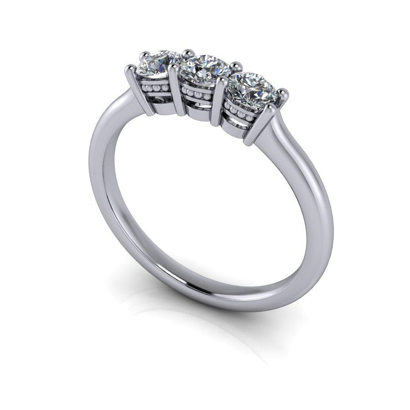 .50 CTW Moissanite Three Stone Anniversary Ring, Wedding Band-Bel Viaggio Designs