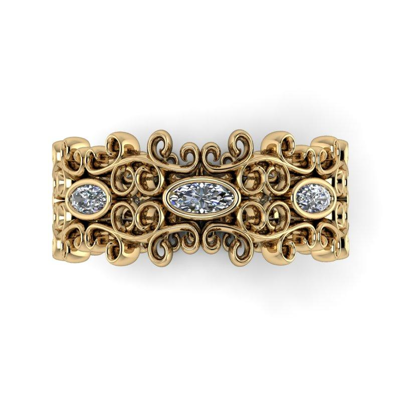 .50 CTW Oval Forever One Moissanite Vintage Style Anniversary Band, Stacy K Opulence-Bel Viaggio Designs