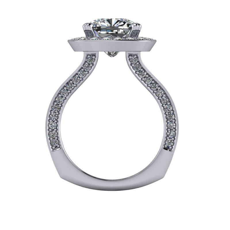 5.00 CTW Cushion Cut Forever One Moissanite Split Shank Halo Engagement Ring-Bel Viaggio Designs