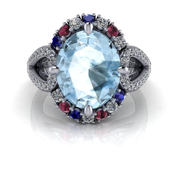 5.01 CTW Diamond Engagement Ring Aquamarine Ring Bridal Set-Bel Viaggio Designs