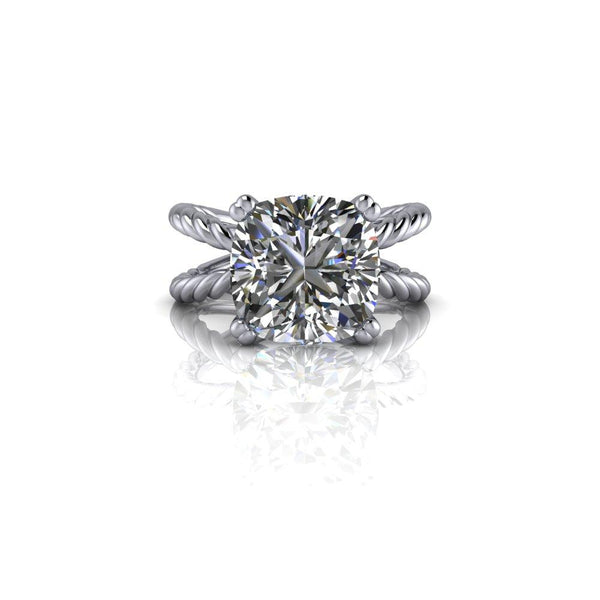 5.02 CTW Cushion Cut Forever One Moissanite Engagement Ring Split Shank Rope Band-Bel Viaggio Designs