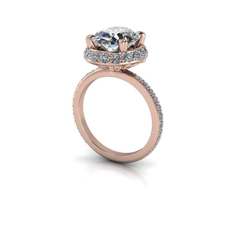 5.04 CTW Oval Forever One Moissanite Engagement Ring, Stacy K Opulence Collection-Bel Viaggio Designs