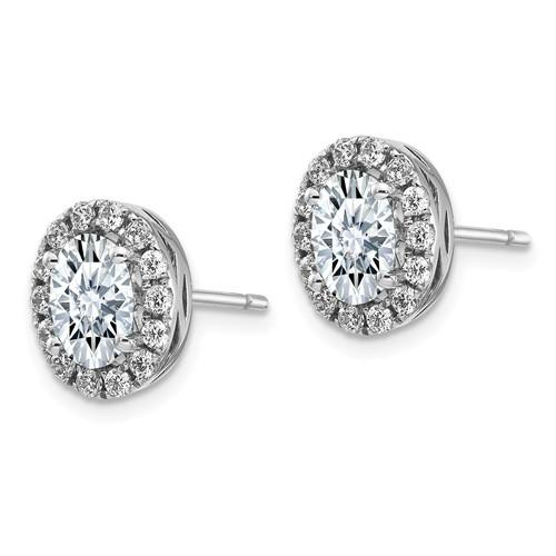 5.04 CTW Oval Halo Moissanite Earrings, DEF Color-Bel Viaggio Designs