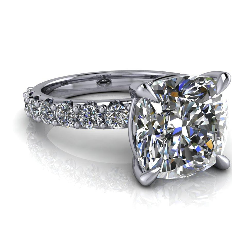 5.05 CTW Cushion Cut Moissanite Engagement Ring, DEF Color-Bel Viaggio Designs