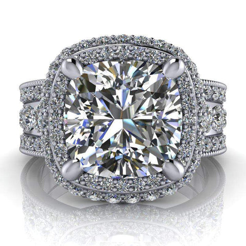 5.05 CTW Milgrain Accented Halo Engagement Ring, Cushion Cut Colorless Moissanite Ring-BVD