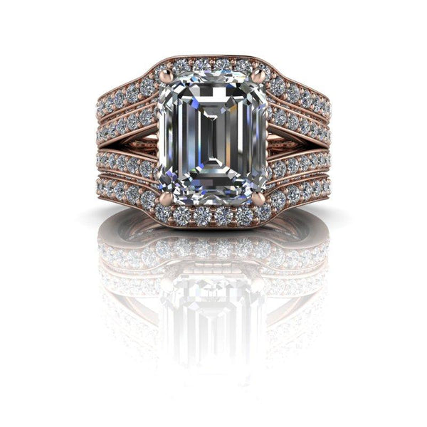 5.25 CTW Stacy K Opulence Forever One Moissanite Bridal Set Emerald Cut-Bel Viaggio Designs