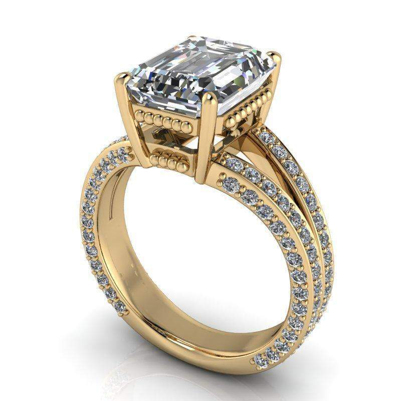 5.25 CTW Stacy K Opulence Limited Edition Forever One Moissanite Bridal Set Emerald Cut-BVD