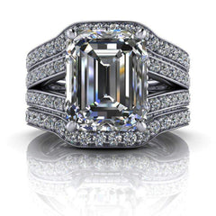 5.25 CTW Stacy K Opulence Limited Edition Moissanite Bridal Set Emerald Cut Split Shank Ring-BVD