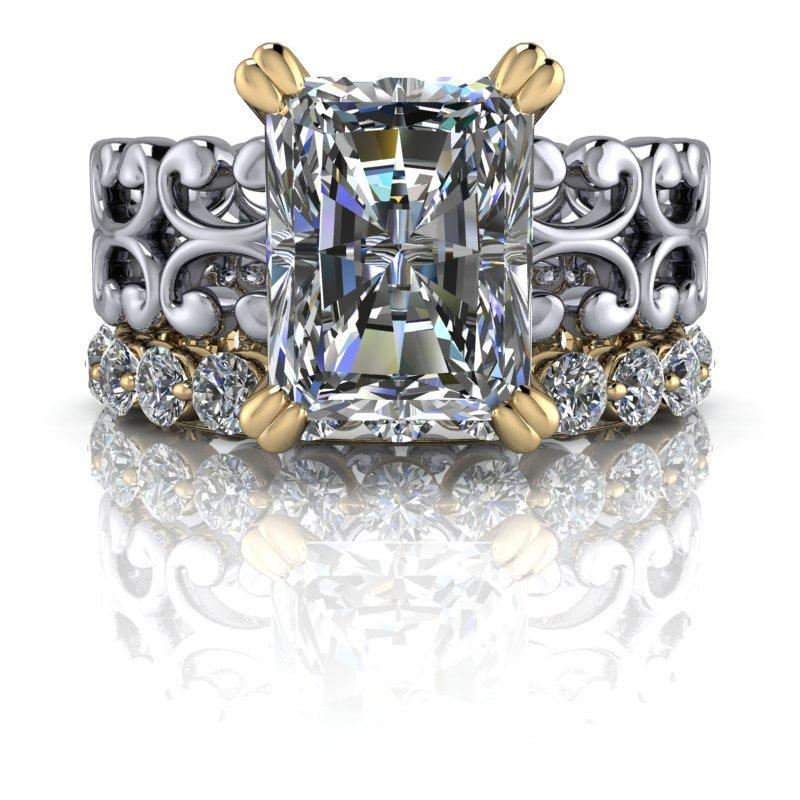 5.30 CTW Forever One Moissanite Radiant Cut Bridal Set, Insieme Bridal Stackables®-Bel Viaggio Designs, LLC