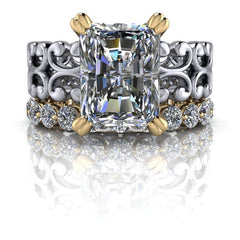 5.30 CTW Forever One Moissanite Radiant Cut Bridal Set, Insieme Bridal Stackables®-BVD