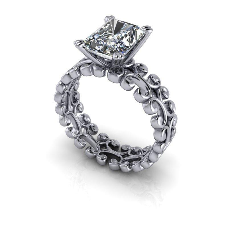 5.30 CTW Moissanite Bridal Set, Radiant Cut Wide Solitaire Engagement Ring-Bel Viaggio Designs