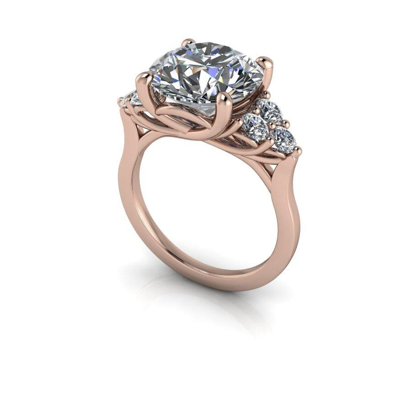 5.35 CTW Round Colorless Moissanite Engagement Ring-Bel Viaggio Designs