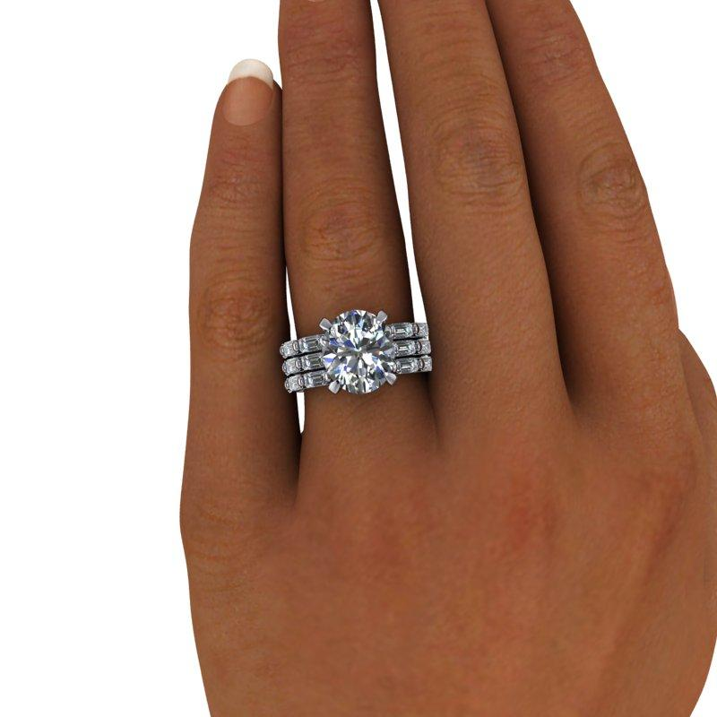 5.40 CTW Forever One Moissanite Oval and Emerald Cut Anniversary Ring-Bel Viaggio Designs