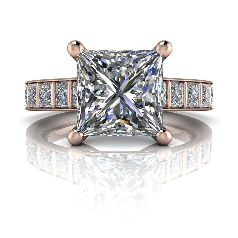 5.40 CTW Moissanite Bridal Set, Princess Cut Moissanite Engagement Ring-Bel Viaggio Designs