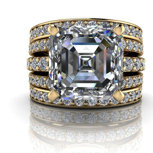 5.42 CTW Forever One Moissanite and Diamond Anniversary Ring-Bel Viaggio Designs