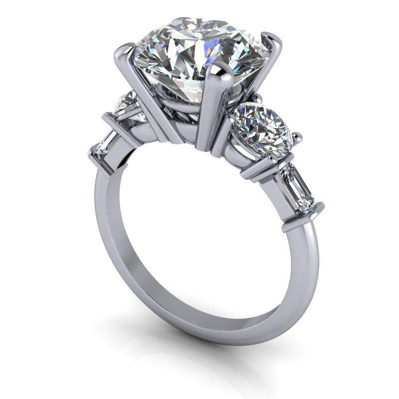 5.44 CTW Bridal Set - 5-Stone Forever One Round and Emerald Cut Engagement Ring-Forever One-Bel Viaggio Designs-Bel Viaggio®