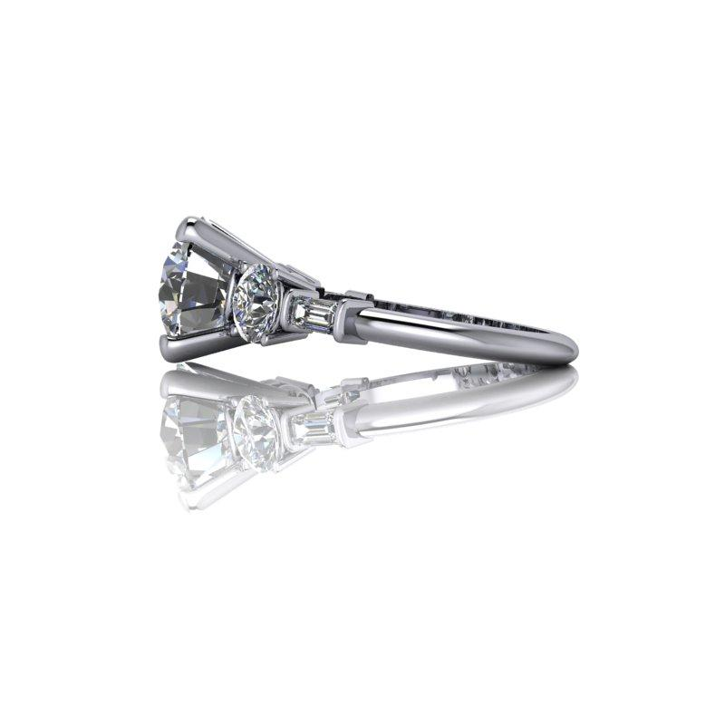 5.44 CTW Bridal Set - 5-Stone Forever One Round and Emerald Cut Engagement Ring-Bel Viaggio Designs